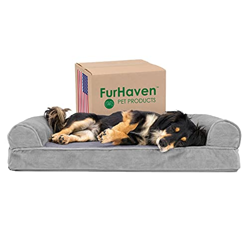 Furhaven Orthopedic Pet Bed for Dogs and Cats - Sofa-Style Faux Fur and Velvet Couch Dog Bed with Removable Washable Cover, Smoke Gray, Medium