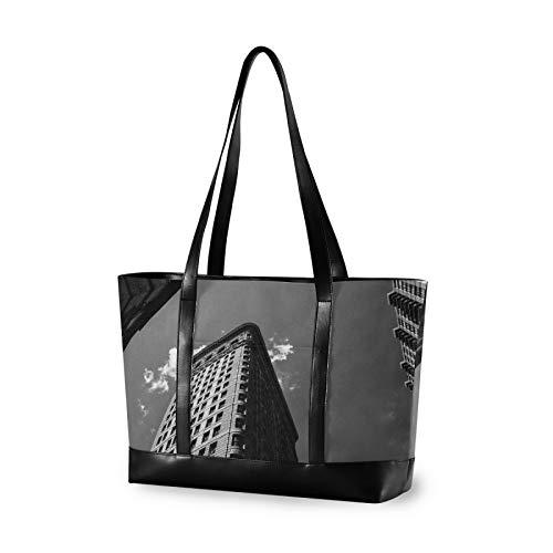 Black White Flatiron Building Women Canvas Handbags Shoulder Tote Bag Top Handle Satchel Large Capacity Bags Laptop bag Tablet bag(14.6×5.1×11.8 in)