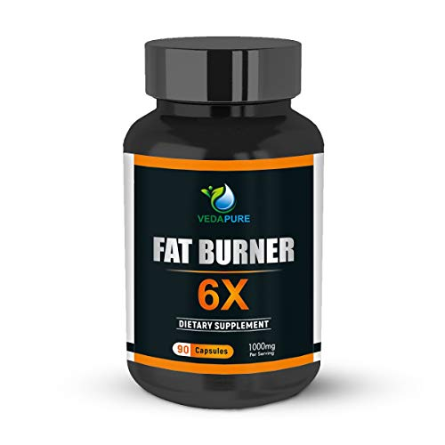 Vedapure Natural Fat Burner 6X Advanced Weight Loss Supplements with Green Coffee Bean Extract, Green Tea Extract and Garcinia Cambogia Extract for Men & Women- 90 Capsules