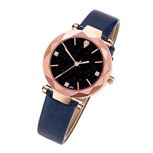 Dinapy Ins reloj para mujer, correa de cuero para mujer, núcleo de cuarzo proporciona una hora precisa, reloj de pulsera de cuarzo con correa de piel sintética (azul)