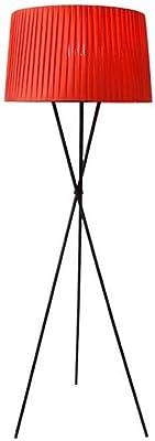Lampadaire Intérieur Trépied Lampes de Sol en Métal Modernes Abat-Jour en Tissu Liseuse Debout pour Bureau de Chambre à Coucher de Salon, Lumières E27-1, 110V, 220V (Couleur: Rouge)