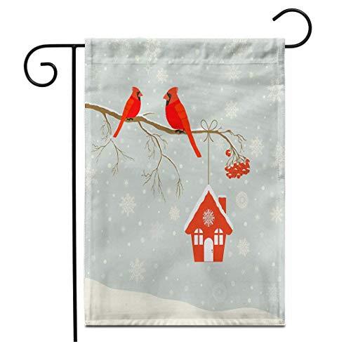 hongwei Bandera de jardín de 12.5 'x 18' Lindo pájaro Cardenal Rojo...