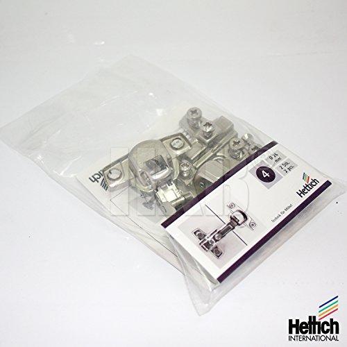HKB ® 2 Stück Minimat4 Federscharniere 95°, 16mm Kröpfung, Topf-ø = 26mm, für innenliegenden Anschlag, Stahl verzinkt, Kreuzmontageplatten und Schrauben, Qualitätsprodukt von Hettich, Artikel-Nr. 9056