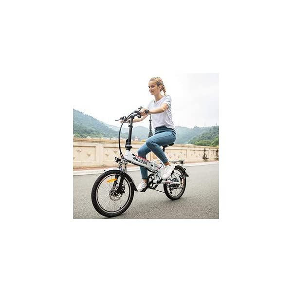 Electric Bikes ANCHEER Folding Electric Bike for Adults, 20″ Electric Bicycle/Commute Ebike with 250W Motor, 36V 8Ah Battery, Professional 7 Speed Transmission Gears (White)