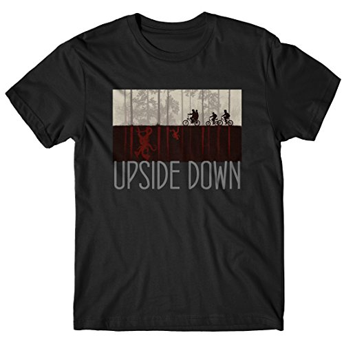 LaMAGLIERIA T-Shirt Uomo Upside Down Grey Print - Maglietta Stranger Things Serie TV Cult 100% Cotone