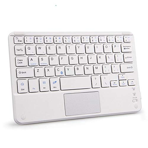 Portable Mini Wireless Backlight Bluetooth Keyboards with Touchpad Universal For All 7-10 inch Tablet For iPad Smartphones-White Touchpad