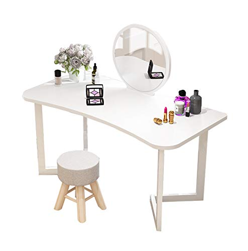 YXF Dressing Table Girl Dressing Table with Stool and Round Mirror, Bedroom Furniture Dresser for Cosmetics and Make-up, Living Room