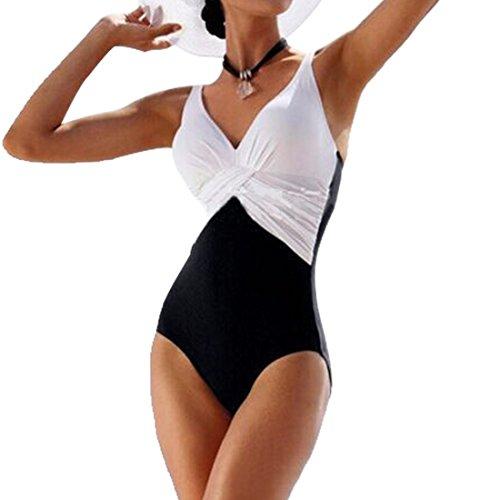 GWELL Frauen Vintage Elegant Plus Size Einteiler Push up V-Schnitt Badeanzug Schwimmanzug Mehrfärbig Bademode Schwarz und weißXL