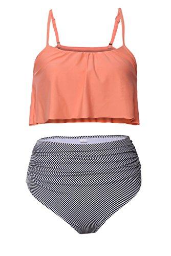 Aleumdr Womens Ruffle Crop Top High-Waisted Padded Bikini Set Swimsuit Thin Shoulder Straps Sexy Swimwear M Size Multicoloured