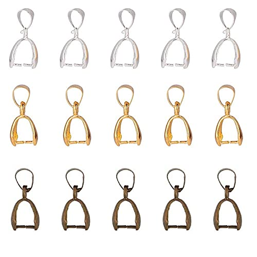 Enganches para Colgantes, 90 Piezas 3 Color Cierres para Collares, Conectores de Joyeria, Trabilla para Colgante, DIY Accesorio para Fabricación, Colgante, Collar, Broches, Manualidades(20x8x5.5 mm)