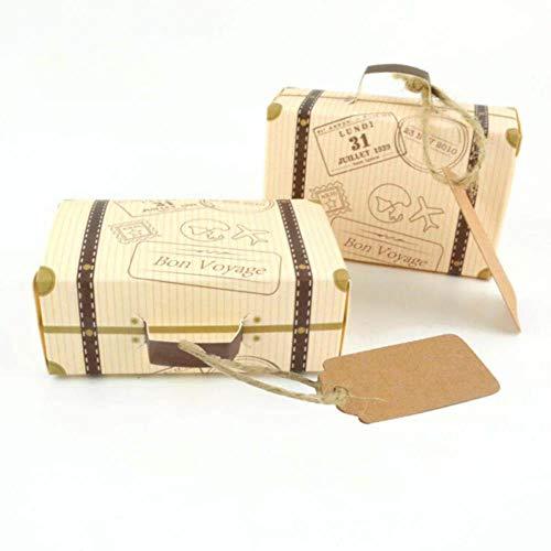 50 stks/set creatieve mini koffer ontwerp snoep geschenkdoos verpakking doos chocolade doos bruiloft geschenkdoos met kaart voor evenement partij