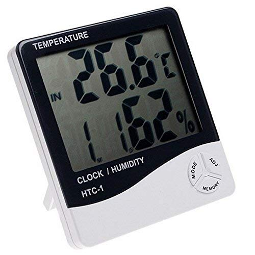 MOHAK HTC-1 Temperature Humidity Time Display Meter with Alarm Clock, Wall Mount or Table Top, Multicolour