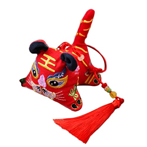 ABOOFAN Bolsita China Forma de Tigre Colgante Decoración Vacía Hecha a Mano Bordado Bolsita Buena Fortuna Fragancia Bolsa Dibujos Animados Bolsita Colgante para Regalo Rojo