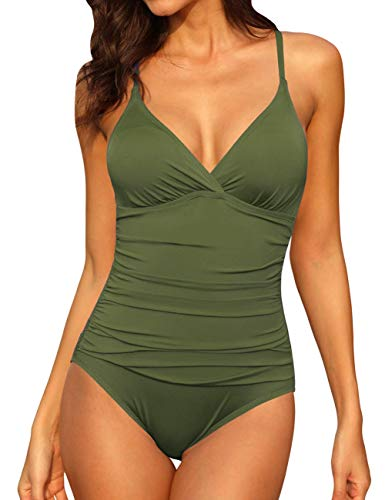 Firpearl Women's Halter One Piece Swimsuits Braid Macrame Ruched Tummy Control Swimwear Olive Me US14