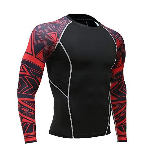 B/H Camiseta Deportiva de Manga Corta para Hombre,Sports Flower Arm Long Sleeve, Gym Basketball Football Quick-Drying clothes-tc120_S