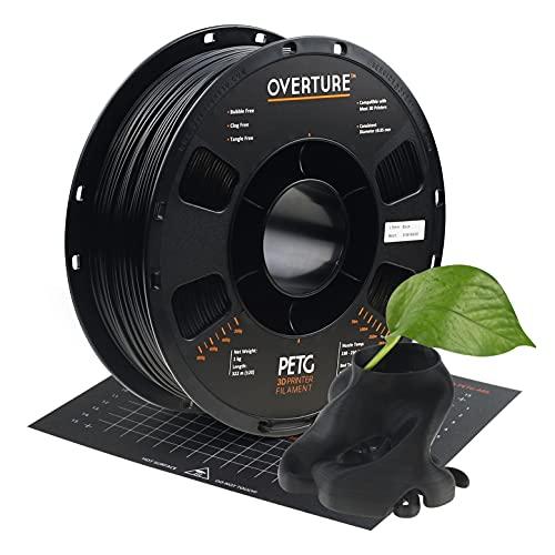 OVERTURE Filamento PETG 1.75mm con 3D Costruisci Superficie 200mm x 200mm Consumo per Stampante 3D, 1kg Bobina(2.2lbs), Precisione Dimensionale +/- 0.05 mm, per Stampante 3D (Nero)