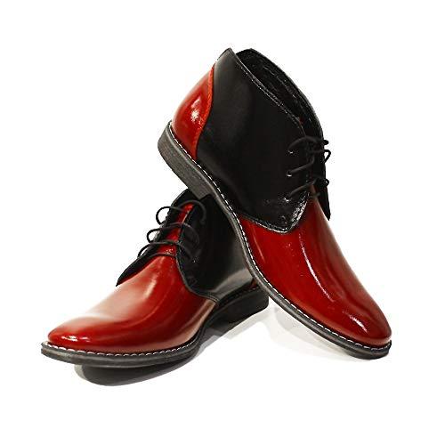 PeppeShoes Modello Romolo - EU 42 - US 9 - UK 8-27 cm - Handgemachtes Italienisch Bunte Herrenschuhe Lederschuhe Herren Rot Stiefeletten Chukka Stiefel - Rindsleder Lackleder - Schnüren