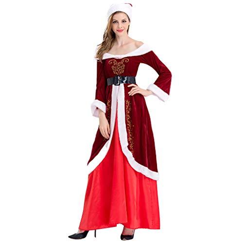 YNIEIAA - Disfraz de Navidad para mujer, manga larga, vestido de fiesta con sombrero, impresin elegante, ropa de invierno clida para mujer, mujer y nia