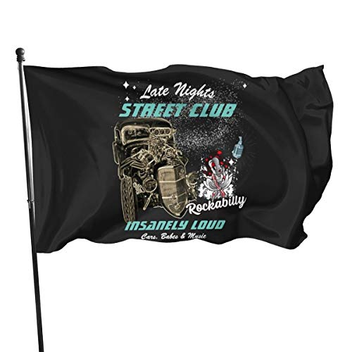 Late Nights Rockabilly Street Club Rat Rod Graphic Flag Banner Flags Banners