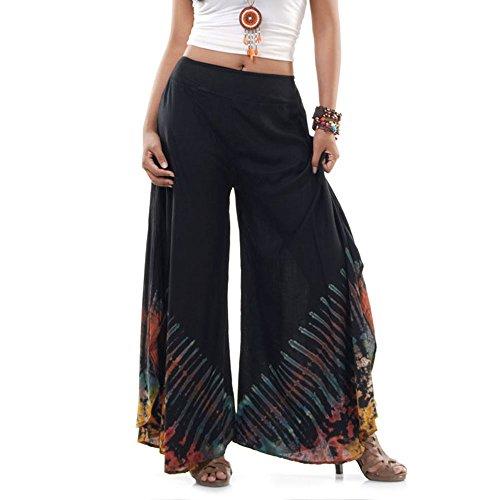 Princess of Asia Extrem Weite Damen Hippie Ethno Goa Thai Hose Schlaghose 36 38 40 S M (Schwarz)