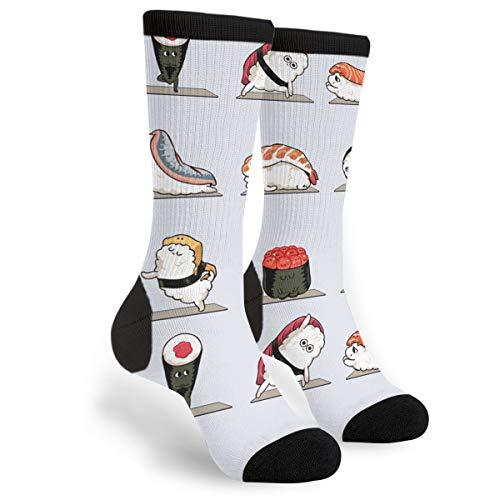 Yoga Sushi Best Japanese Cute Black Male Mens Youth Boys Teen Kid Quarter Dress Mid Calf Knee Crew Socks Calf Knit Hosiery Themed Clothing Costume Clothes Dresses Apparel Unisex Ankle