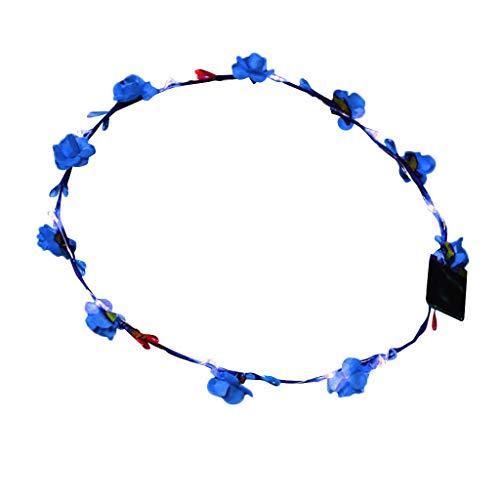 TUDUZ Damen Boho Blumen Festival Hochzeit Garland Haar Kopf Band Beach Party Stirnbänder (X-LED Blau)