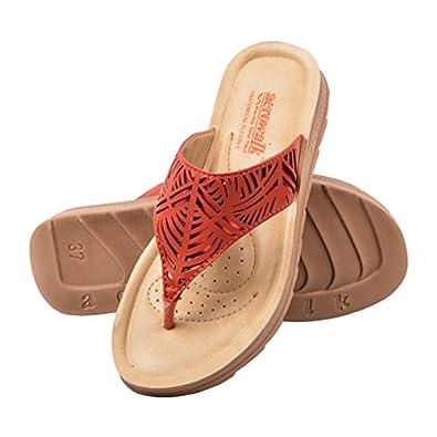 AEROWALK low heel flat sandal for ladies - colour variant Black Brown and red - stylish ladies PU slippers - low heel chappal for women - flat chappal - fancy chappal - Womens sandals - womens fancy Chappal and Sandal