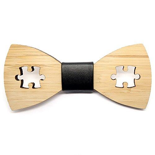 BOBIJOO Jewelry - Strikje Trend Hout Bamboe Man Puzzel Spel-Speler, Met De Hand Gemaakt, Leder