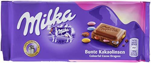 Milka Bunte Kakaolinsen - Zartschmelzende Schokoladentafel mit bunten Schokolinsen - 22 x 100g
