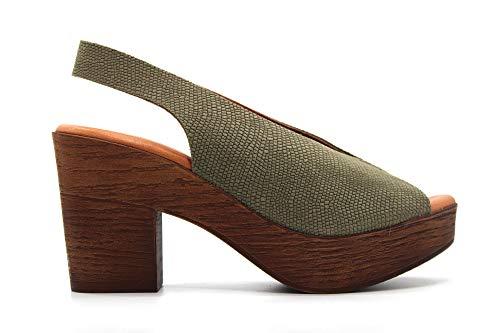 KAOLA - 387- Sandalias de tacón y plataforma, de piel, salón destalonado...