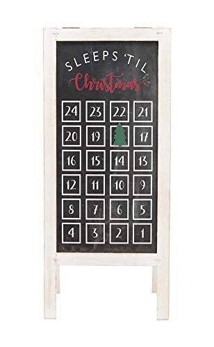 23' H Christmas Countdown Wood Calendar with Easel,Freestanding Christmas Advent Calendar, Reusable Countdown to Christmas Funny Sign Decor (White Frame)