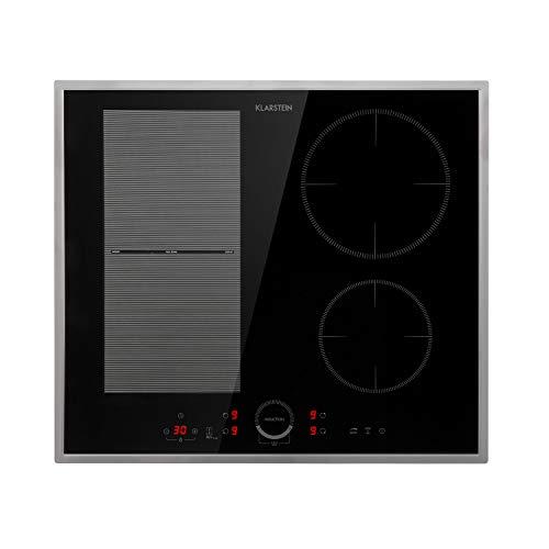 KLARSTEIN Delicatessa 60 - Table de cuisson à induction Hybrid Prime encastrable, 4 zones: 7000 W, cadre en inox, 9 niveaux, ThermoBoost, plaque de cuisson: 60 x 52 cm - noir