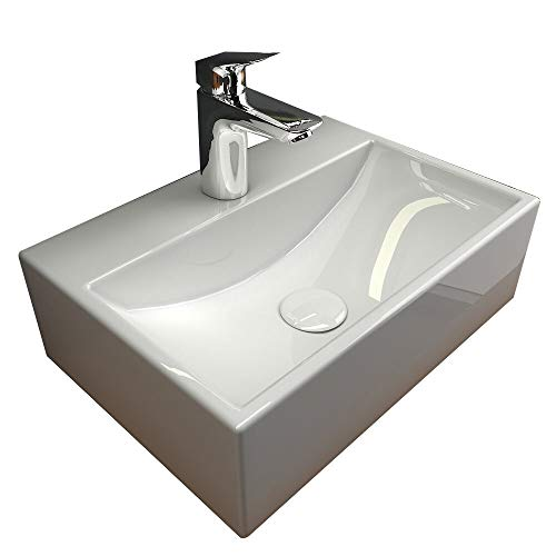 Alpenberger Antibakterielle Beschichtung Keramik Waschbecken 36 x 25 cm | Hänge- oder Aufsatzwaschbecken | Waschtisch inkl. Nano Versiegelung | Elegantes Design | Eckiges Becken für Gäste WC