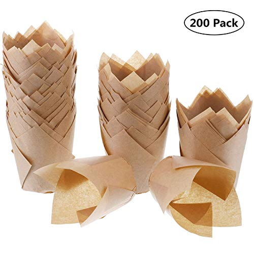 200 Stück Tulpenförmchen für Cupcakes, natürliches Backpapier, fettdicht, für Hochzeit, Geburtstag, Party, Babyparty