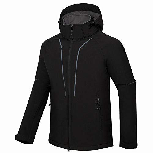 FFLOWER Mens Jackets Waterproof Windproof Softshell Jacket Outdoor Coat with Adjustable Hood,B,M
