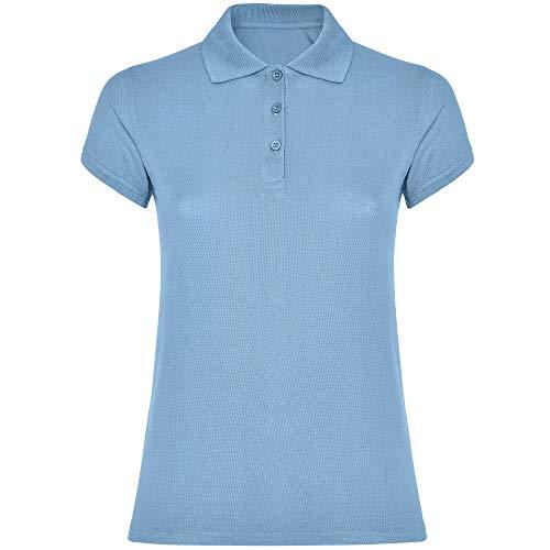 Damen Kurzarm Polo Shirt Basic Poloshirt Bedrucken besticken geeignet in SkyBlue Größe 3XL