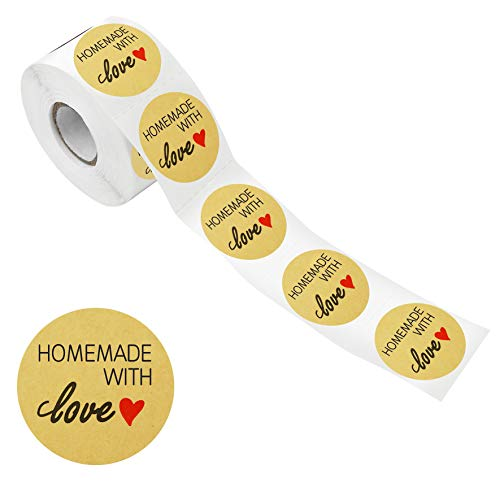 600 PCS Natural Kraft Homemade with Love Stickers in Roll with Perforation Line for Personal and Business Use (Each Measures 1.5  in Diameter)