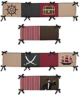 Sweet Jojo Designs Tan, Brown and Red Baby Crib Bumper Pad for Treasure Cove Pirate Collection