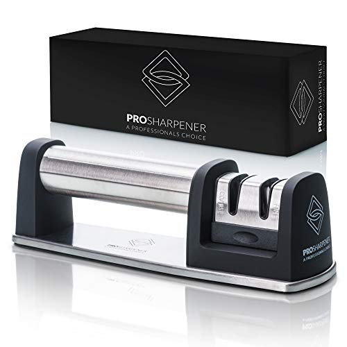 PRO Sharpener A Professionals Choice Premium Manual Knife Sharpener 2 Stage Kitchen Accessory, Non-Slip Base, Stainless-Steel, Straight and Serrated Knives, Tungsten Carbide, Fine Ceramic Rods