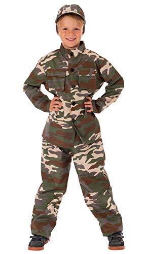 Magicoo Soldat Kostüm für Kinder Jungen inkl. Bluse, Hose & Mütze Camouflage - Gr 110 bis 152 - Soldaten Kämpfer Kostüm Kind Fasching (146/152)