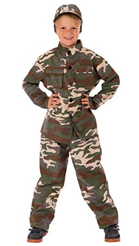 Magicoo Soldat Kostüm für Kinder Jungen inkl. Bluse, Hose & Mütze Camouflage - Gr 110 bis 152 - Soldaten Kämpfer Kostüm Kind Fasching (134/140)