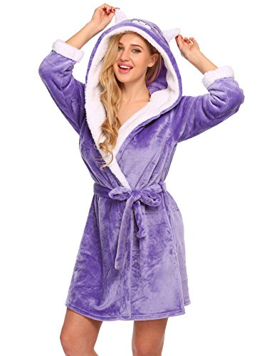 Untlet Damen Fleece Badenmantel mit Kapuze Morgenmantel Tier Kostüme