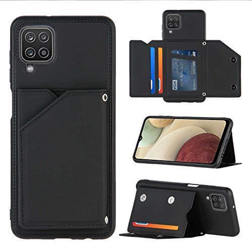 Funda blanda con tapa compatible con Samsung Galaxy A12 Funda de piel Premium Flip Cover Case con tarjetero y soporte para Samsung A12 Smartphone (negro, A12)