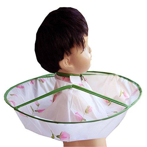 Giyomi 散髪マント ベビー用散髪マント 子供用散髪マント 子供用ヘアカット ケープ 折り畳み式 4色 (グリーン花)