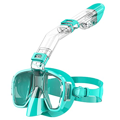 Snoky Snorkel Mask Snorkeling Gear for Adults Kids Seaview 180¡ã Panoramic Swimming Full Face Easy Breathe Dry Snorkel Mask Set Foldable Scuba Mask Gear Diving Mask for Men Women Youth Sea Pool Green
