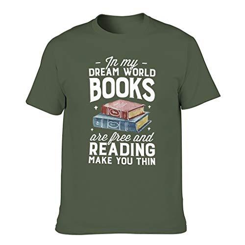 Camiseta de cuello redondo para hombre con texto en alemán 'Meine Traumwelt Libros son libres, te hace fino y vintage, estampado abstracto verde militar L
