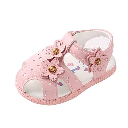 Chaussures bébé Fille pour 0-2 Ans Auxma Sandales Fleurs Bébé Fille, Chaussures à Semelle Souple antidérapantes (19 EU, Rose)