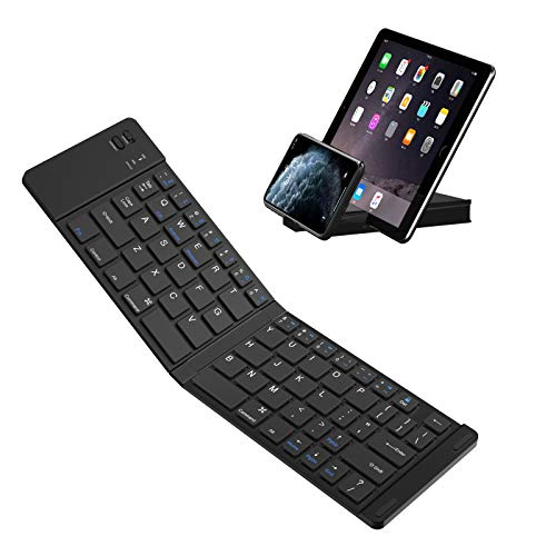 Tastiera Bluetooth IKOS Mini portatile pieghevole piccolo ultra sottile QWERTY Layout per iPhone Air Pro iOS, Android, Windows Smartphone Microsoft Tablet PC (tastiera pieghevole, Black)