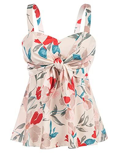 GRACE KARIN Las mujeres de verano ancho hombro correas Tops 50s Floral Fancy Party Casual elástico Camisola