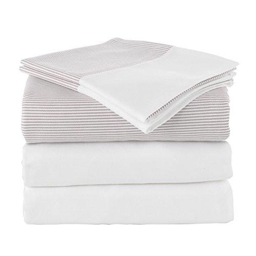 Linum Home Textiles Bettwäsche-Set mit Chevas-Streifen, 5-teilig, 100 % authentische türkische Baumwolle, Spa-Hotel-Kollektion, 5-teilig Queen Weiß/Taupe Bleistiftstreifen
